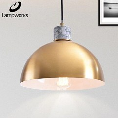 Ceiling Light Fixtures For Living Room Retro Curtains Lampworks Pendant Hemispherical Brass Lampshade Fixture Modern Marble Chandelier Industrial Design Lighting