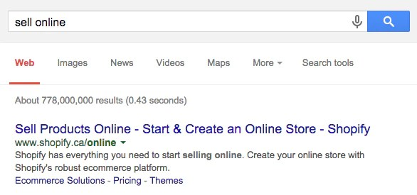 "Google search engine result for the search ""sell online"""