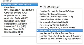 Multiple languages, currencies