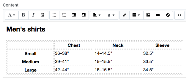 Add a size chart to product pages · Shopify Help Center