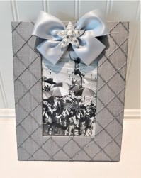 Vertical Grey Silk Frame Starfish Pearl w Satin ribbon 4x6