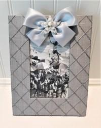 Vertical Grey Silk Frame Starfish Pearl w Satin ribbon 4x6 ...