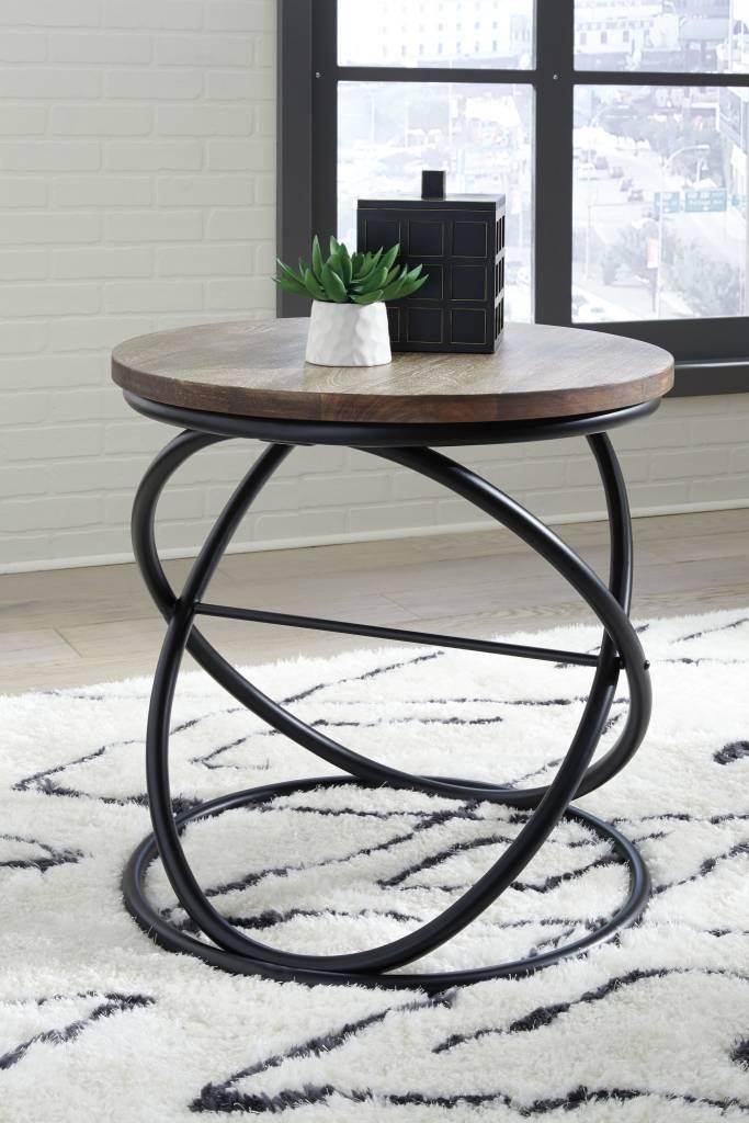 Charliburli Round End Table Brown Black T644 6 Hvl Electronics Furniture