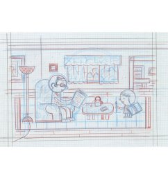 ivan brunetti living room pencil roughs by ivan brunetti for toon book 3x4  [ 800 x 1024 Pixel ]