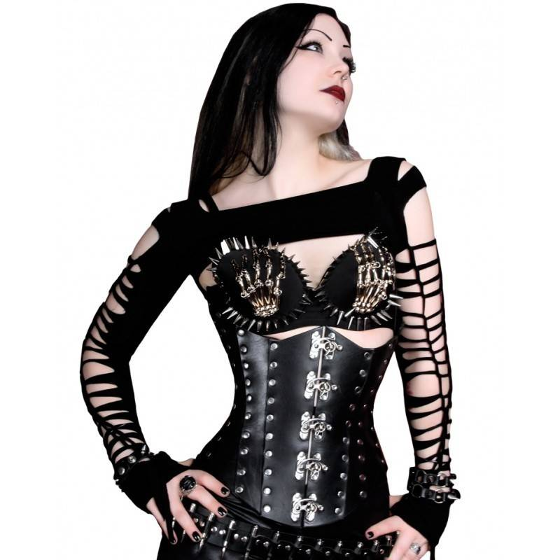 black hard leather corset