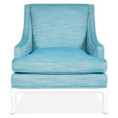 Turquoise Lounge Chair Transport Jonathan Adler Chippendale Linen Wostbrock