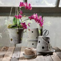 Rustic Terra Cotta Orchid Pot Moss Grey - Areohome