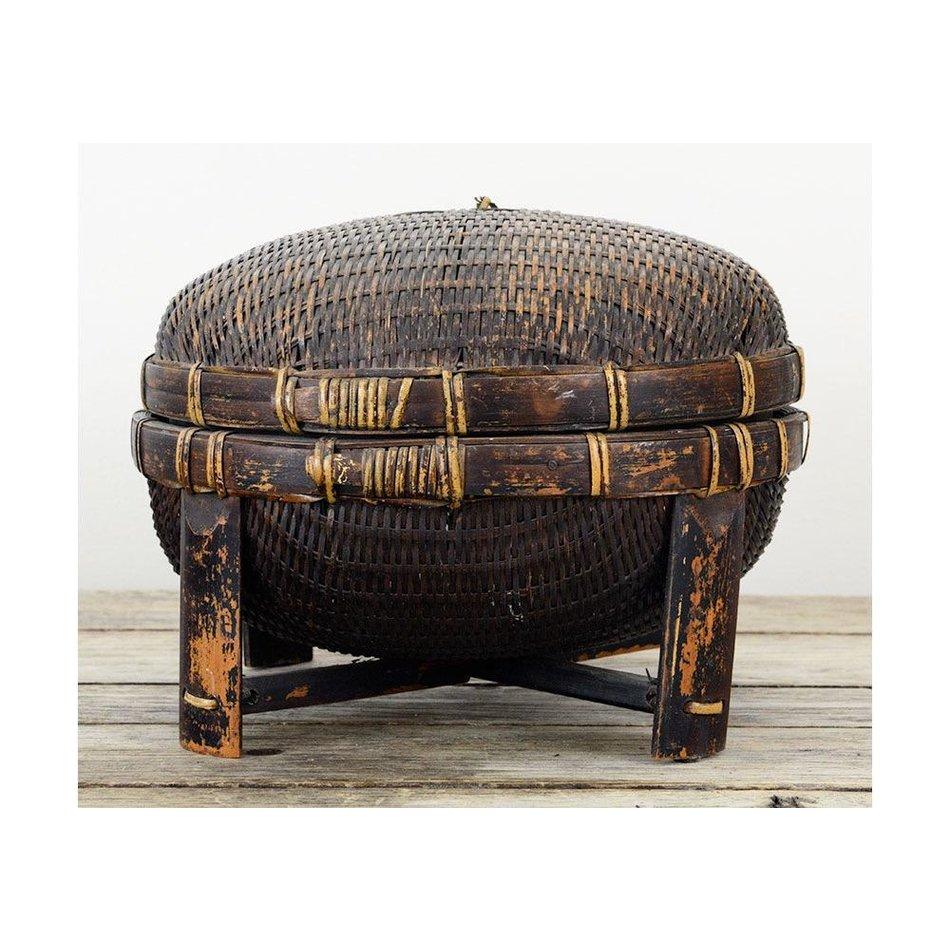 vintage footed chinese basket