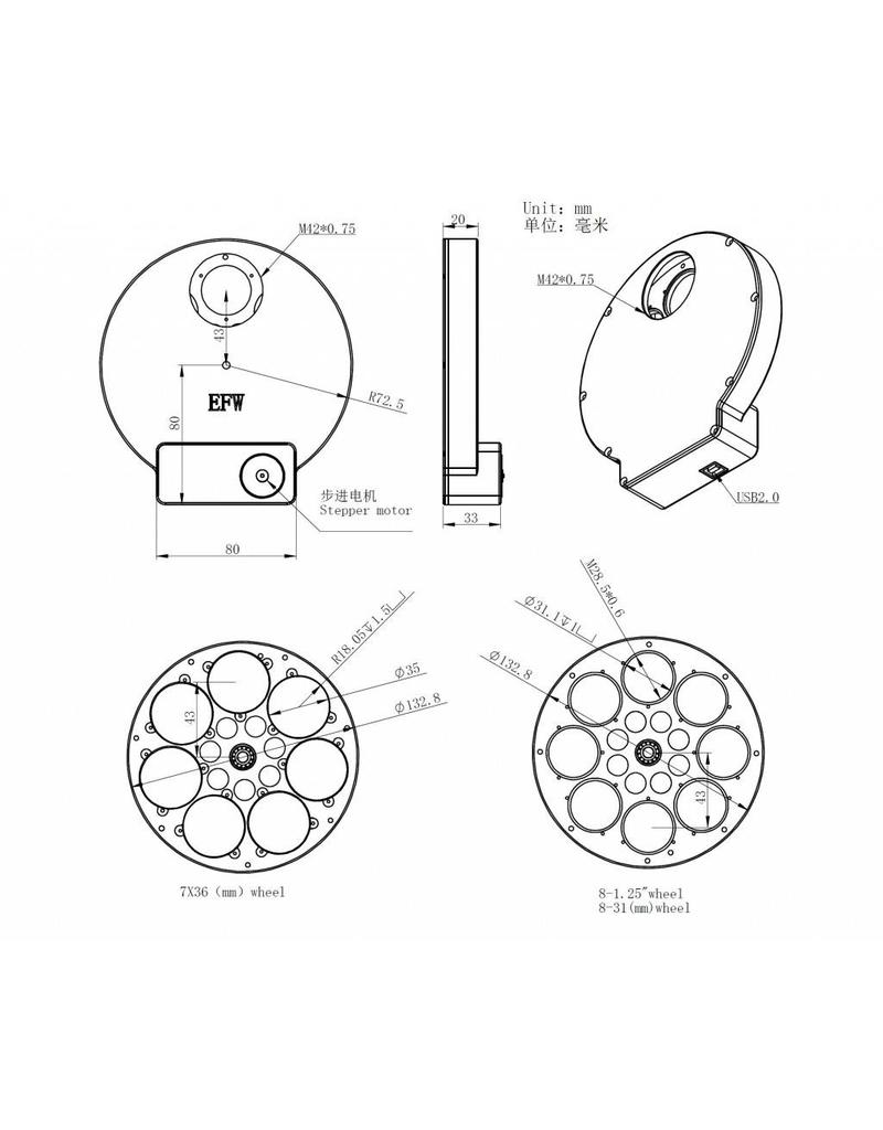 ZWO ZWO 8-Position EFW Color Filter Wheel for 1.25