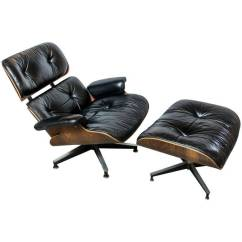 Black Chair And Ottoman Arm Covers With Pockets Original Rosewood Eames Lounge In Leather
