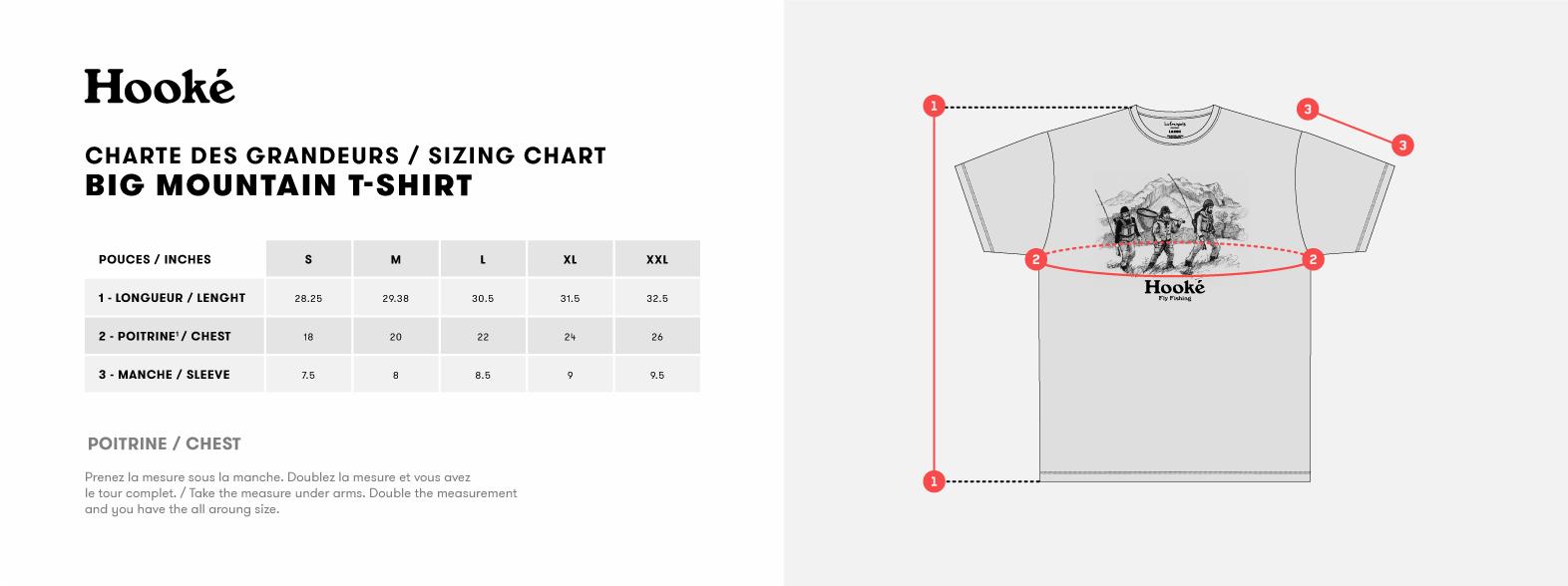 hight resolution of sizing chart