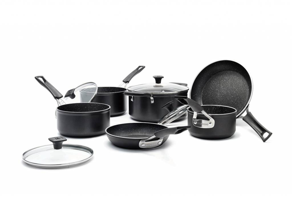 kitchen pan set industrial looking ideas ricardo s the rock 10 piece non stick aluminum forged cookware