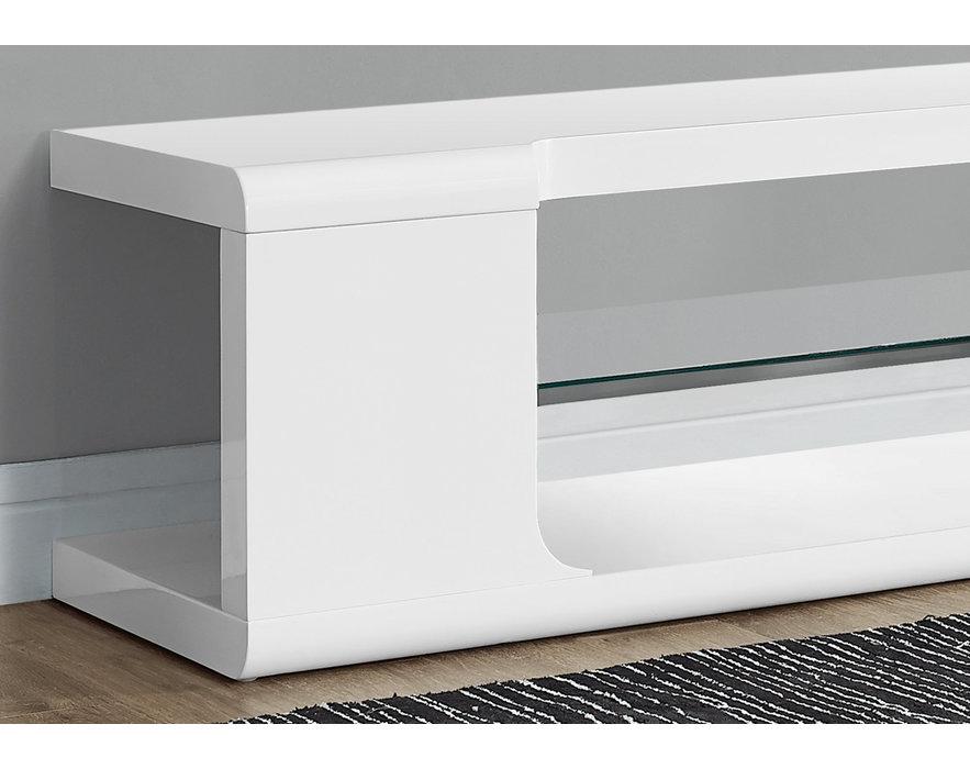 monarch meuble tv 60 blanc lustre et verre trempe