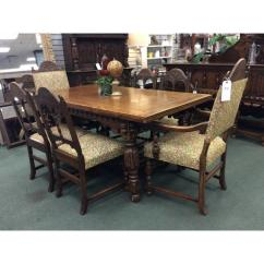 Oak Dining Set 6 Chairs Unusual Accent Chair Solid Jacobean Style Table Heirloom Home