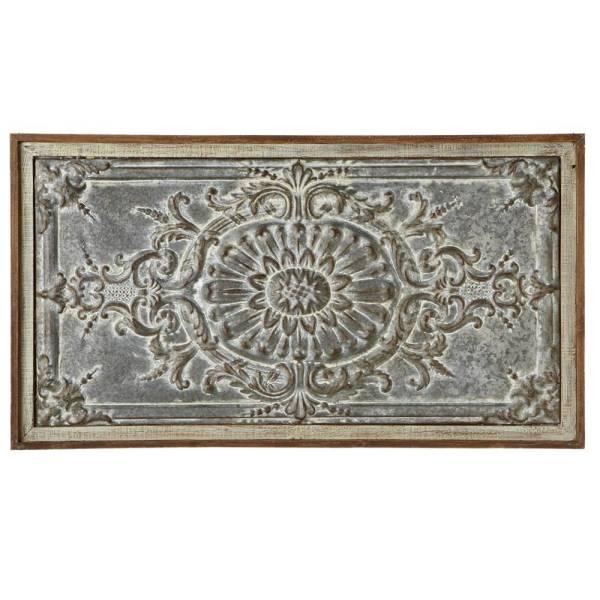 Rectangle Distressed Metal & Wood Wall Art Rustic