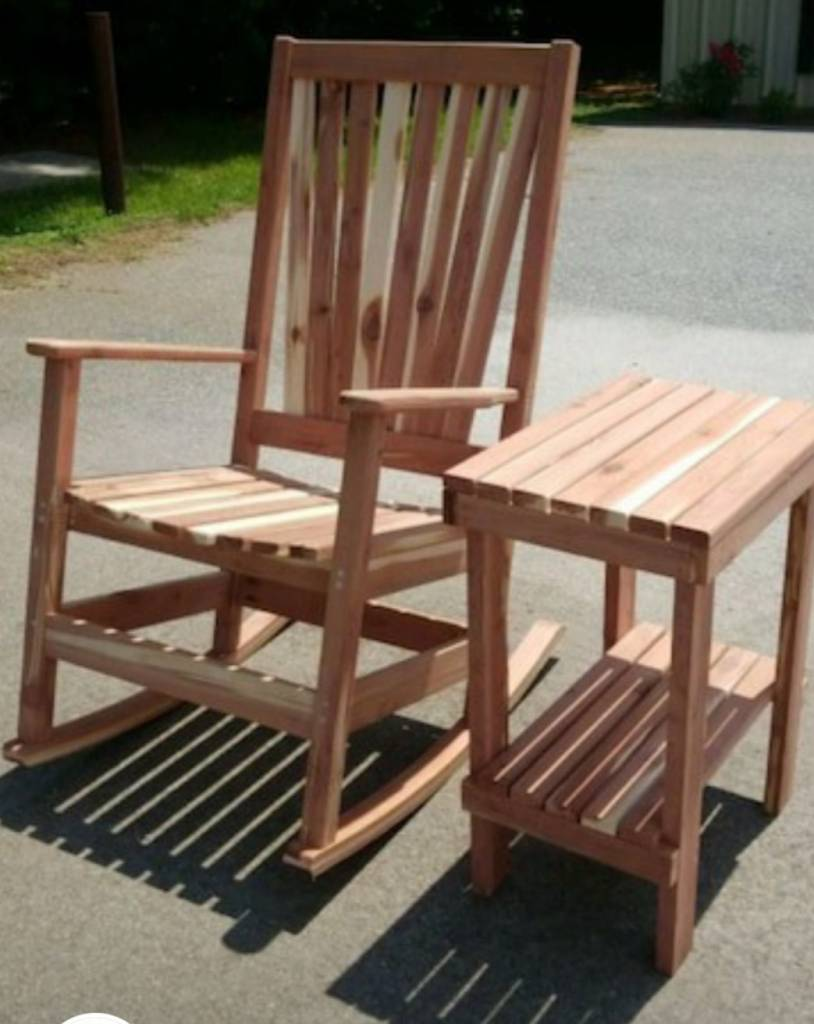 cedar rocking chairs bernhardt pascal chair rocker w side table bargain box and bunks
