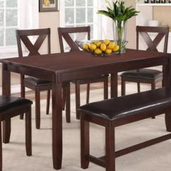 Farmhouse Table And Chairs With Bench Chair Covers Overall Clara Dining Set W 4 Espresso Bargain Box Bunks