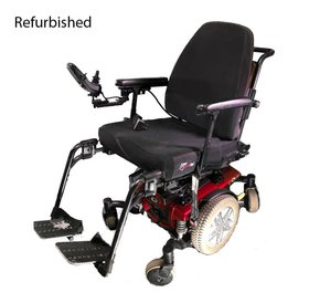wheelchair base travel chair slacker stool reviews powered wheelchairs accessibility medical equipment quantum refurbished q6 edge powerchair red black seat