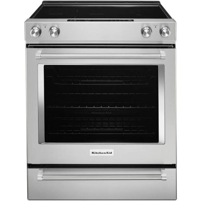 whirlpool kitchenaid 6 4 cu ft slide in electric range with self cleaning convection oven in stainless steel