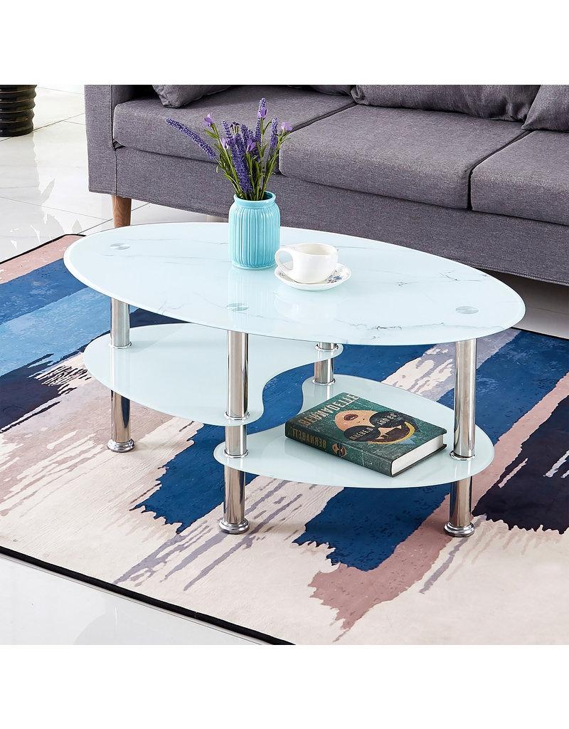table basse ovale de verre en marbre blanc