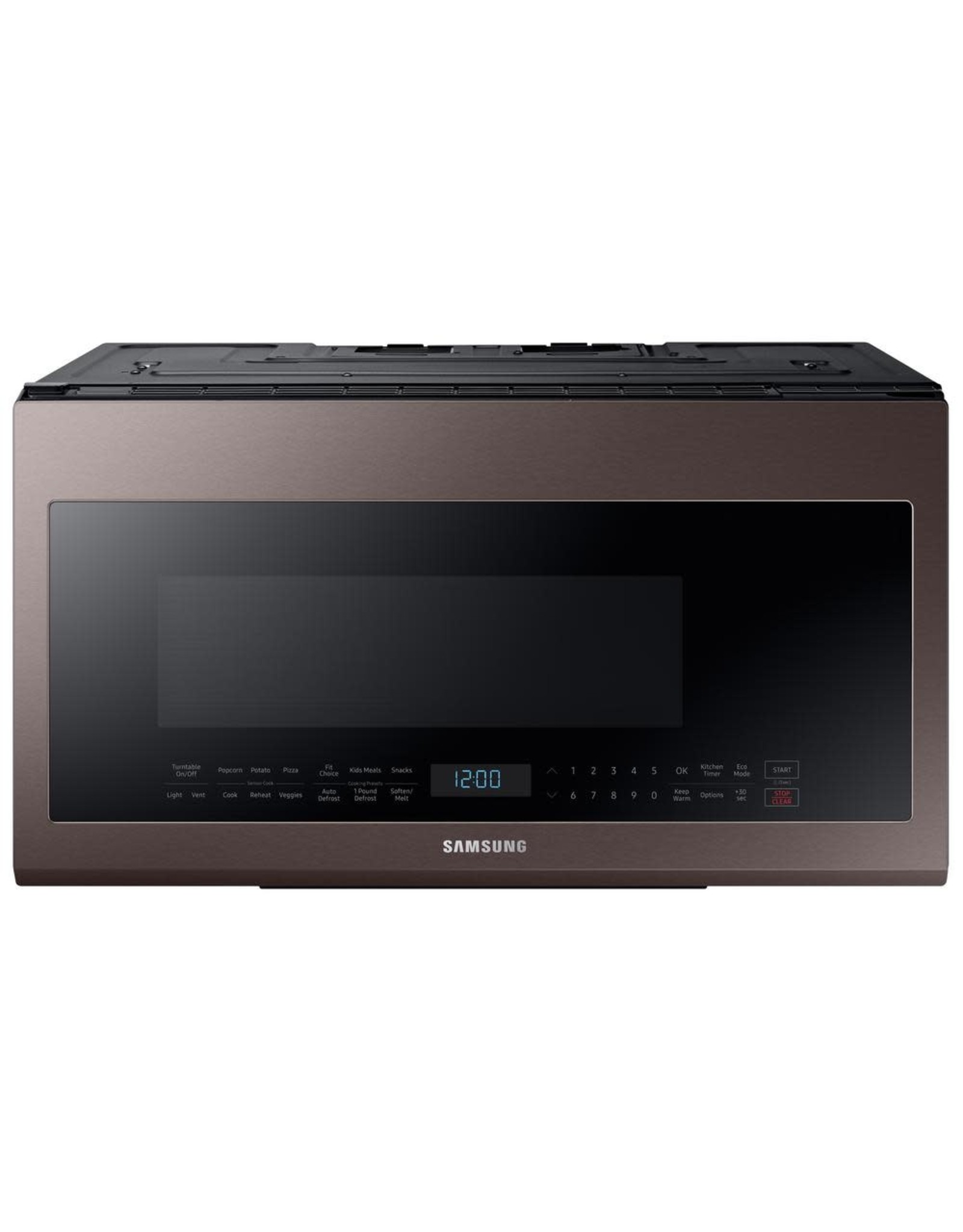 samsung me21r706bat samsung 30 in w 2 1 cu ft over the range microwave in fingerprint resistant tuscan stainless steel with sensor cooking