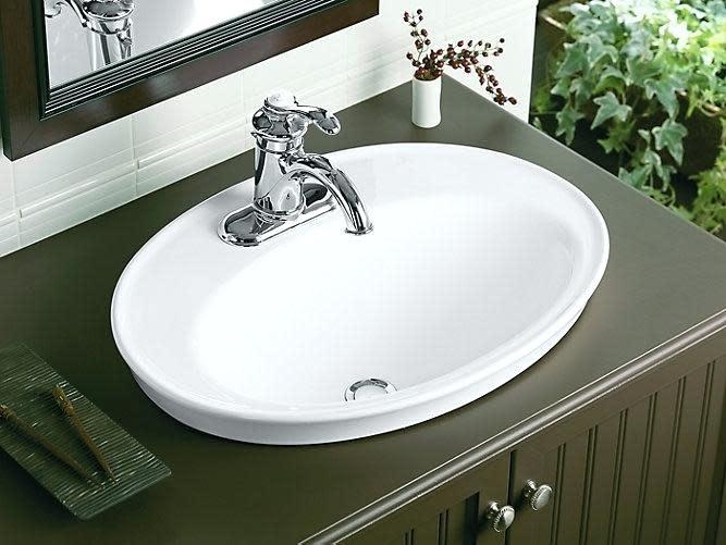 Lavabo Semi Encastre Monotrou Blanc Serif Par Kohler Decoration Et Salles De Bains Leopold Bouchard