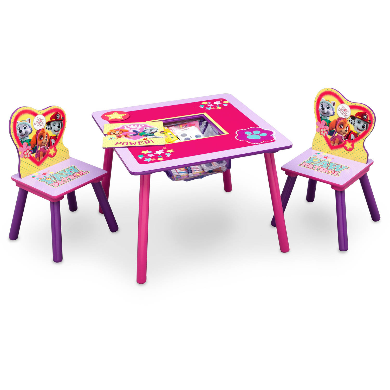 3 piece table and chair set teak chairs nick jr paw patrol skye everest with details about storage