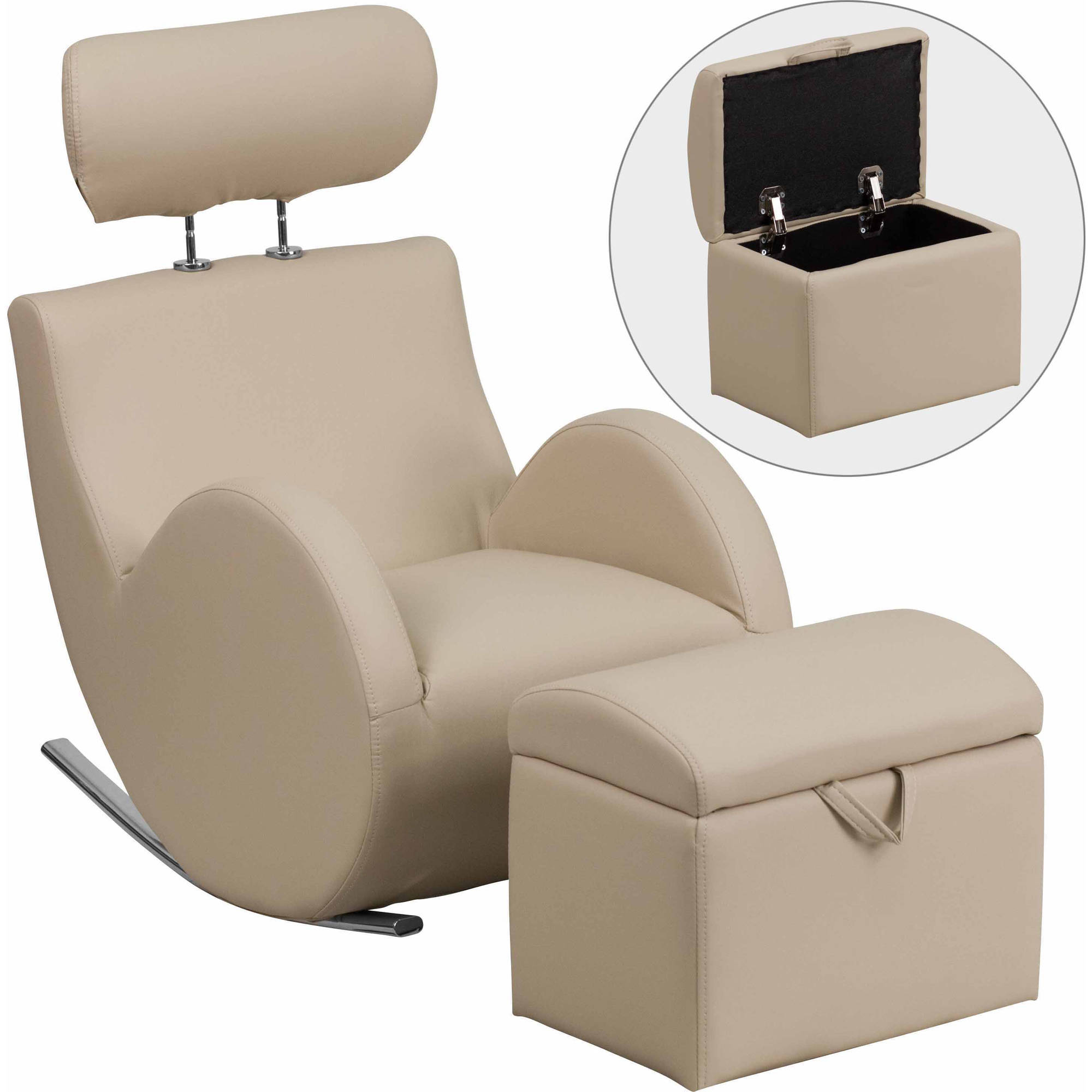 chairs with storage ottoman dxracer gaming chair 0flash furniture hercules series beige vinyl rocking w stock photo picture 1 of 2