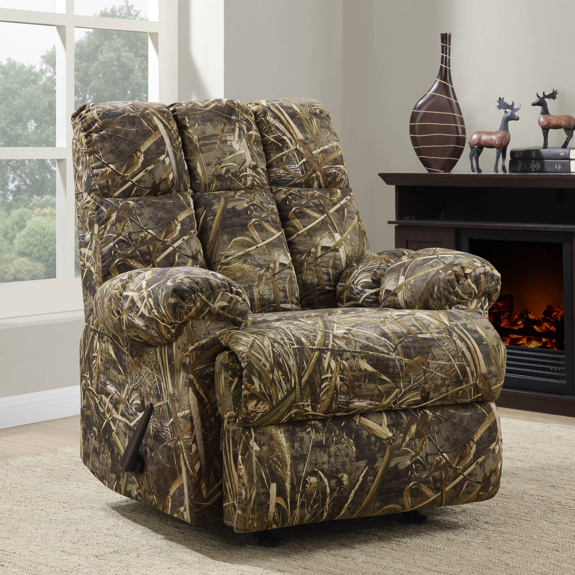 rocker and recliner chair barrel swivel chairs rustic camouflage man cave cabin furniture da6314frr