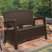 Suncast Elements Resin Wicker Bench With Storage
