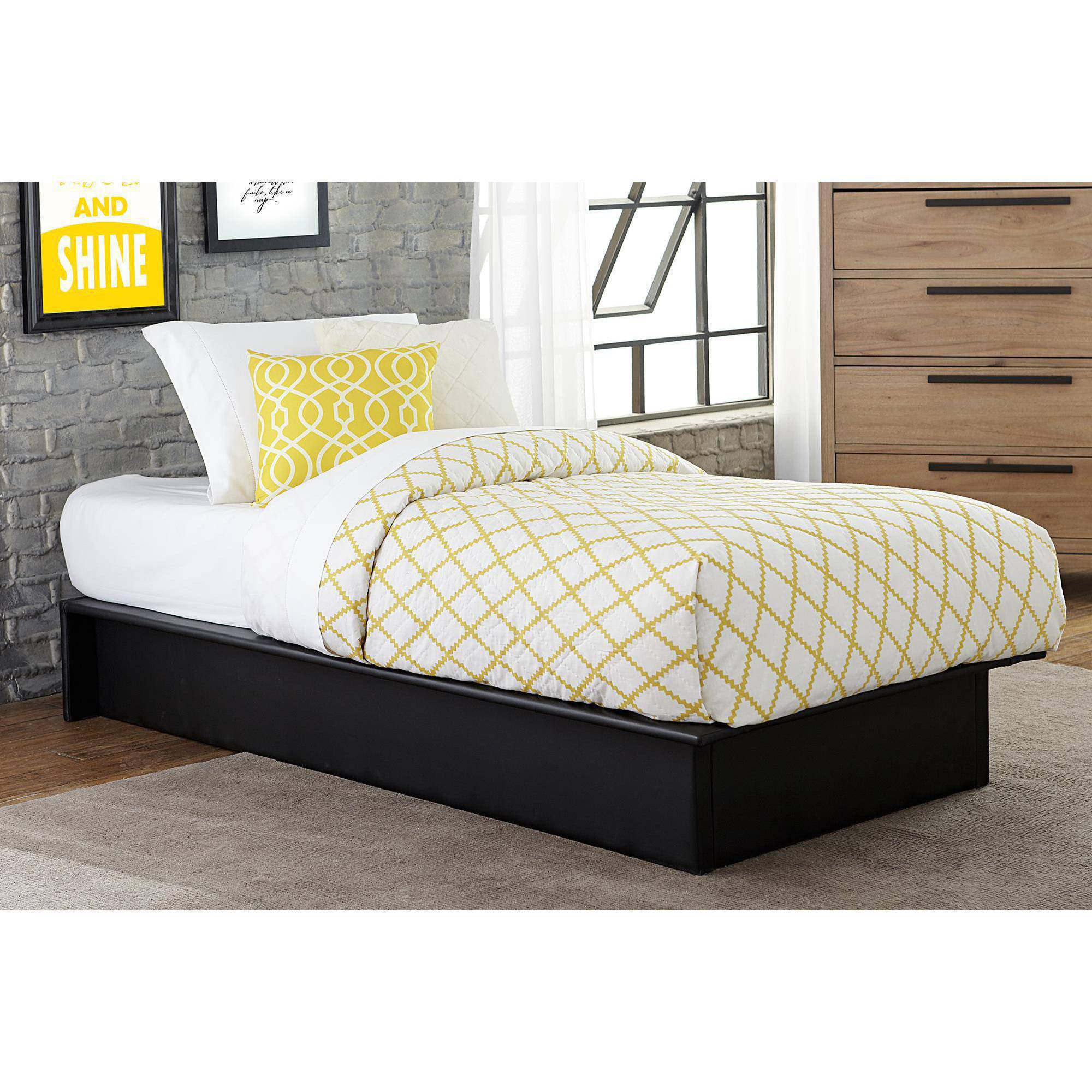 Maven Upholstered Faux Leather Platform Bed Black