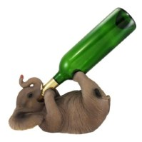 Playful Elephant Tabletop Wine Bottle Holder Decoration ...