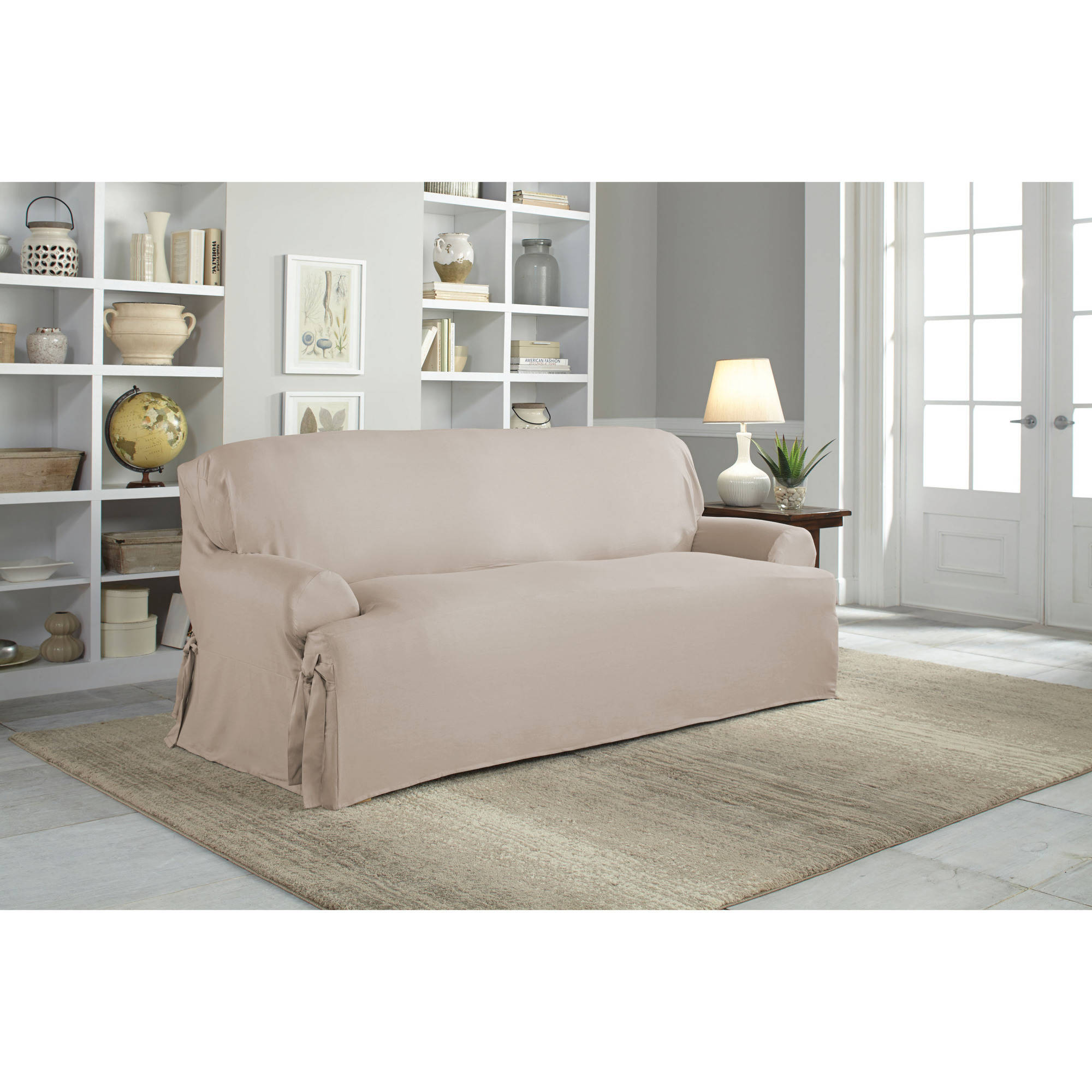 khaki sofa slipcovers thin side table serta relaxed fit duck furniture slipcover 1 piece t