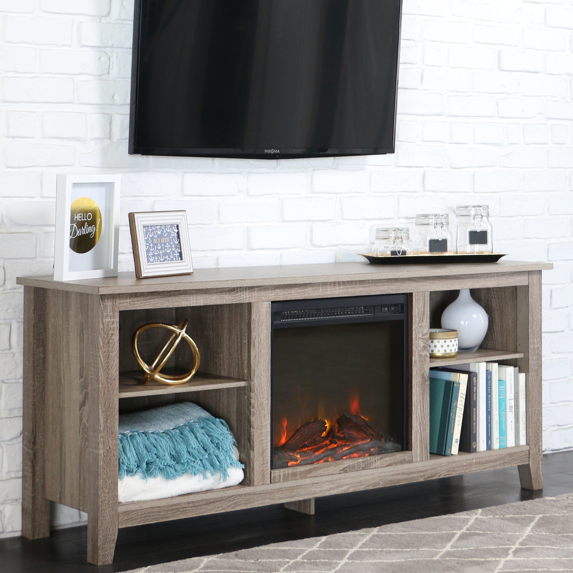 Whitewash Wood Fireplace TV Stand for TVs up to 60  eBay