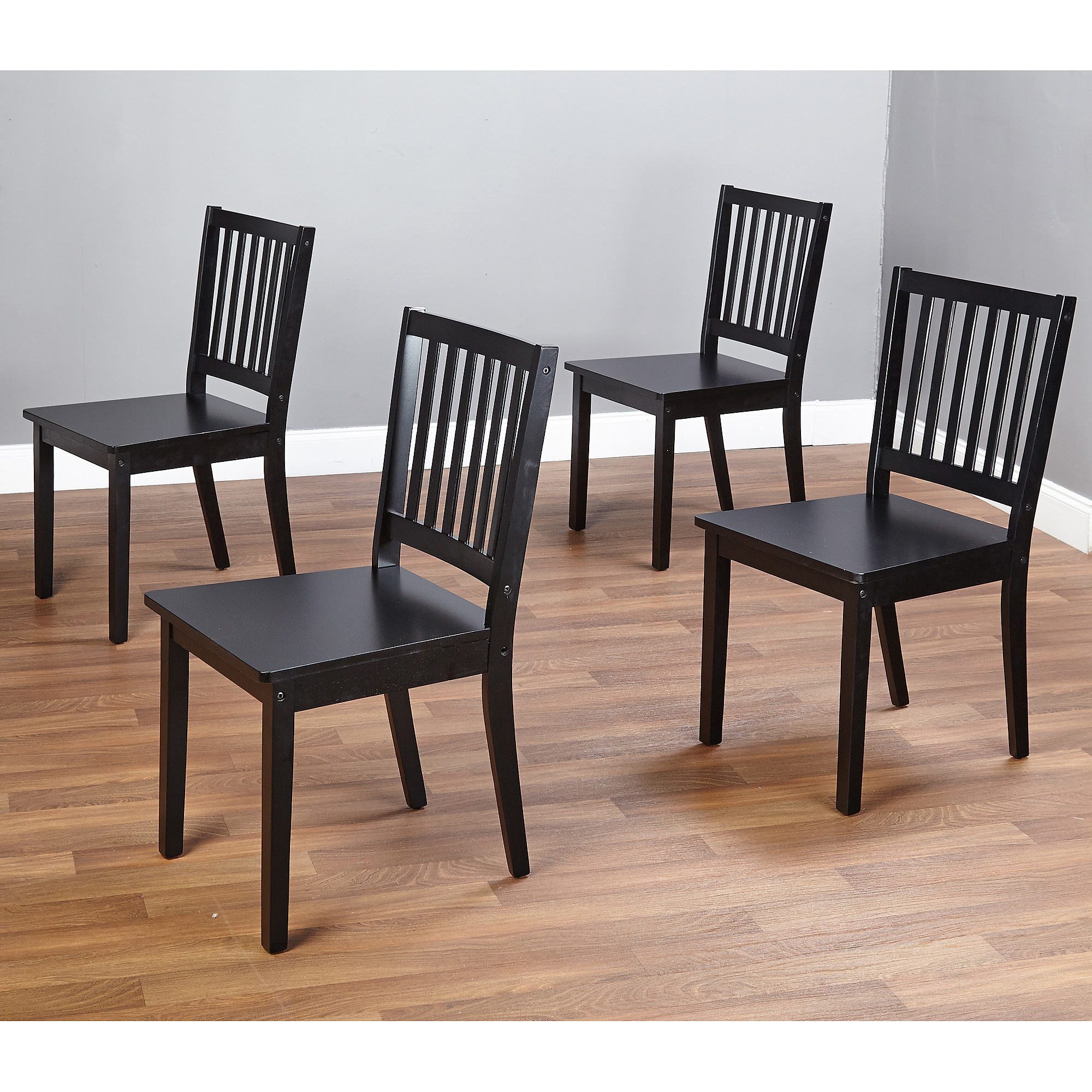 set of chairs small recliner canada shaker dining 4 black ebay 10018blk4