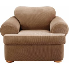 Sure Fit Stretch Stripe 2 Piece Sofa Slipcover Sand Buy Cheap Separate Seat T Cushion Chair