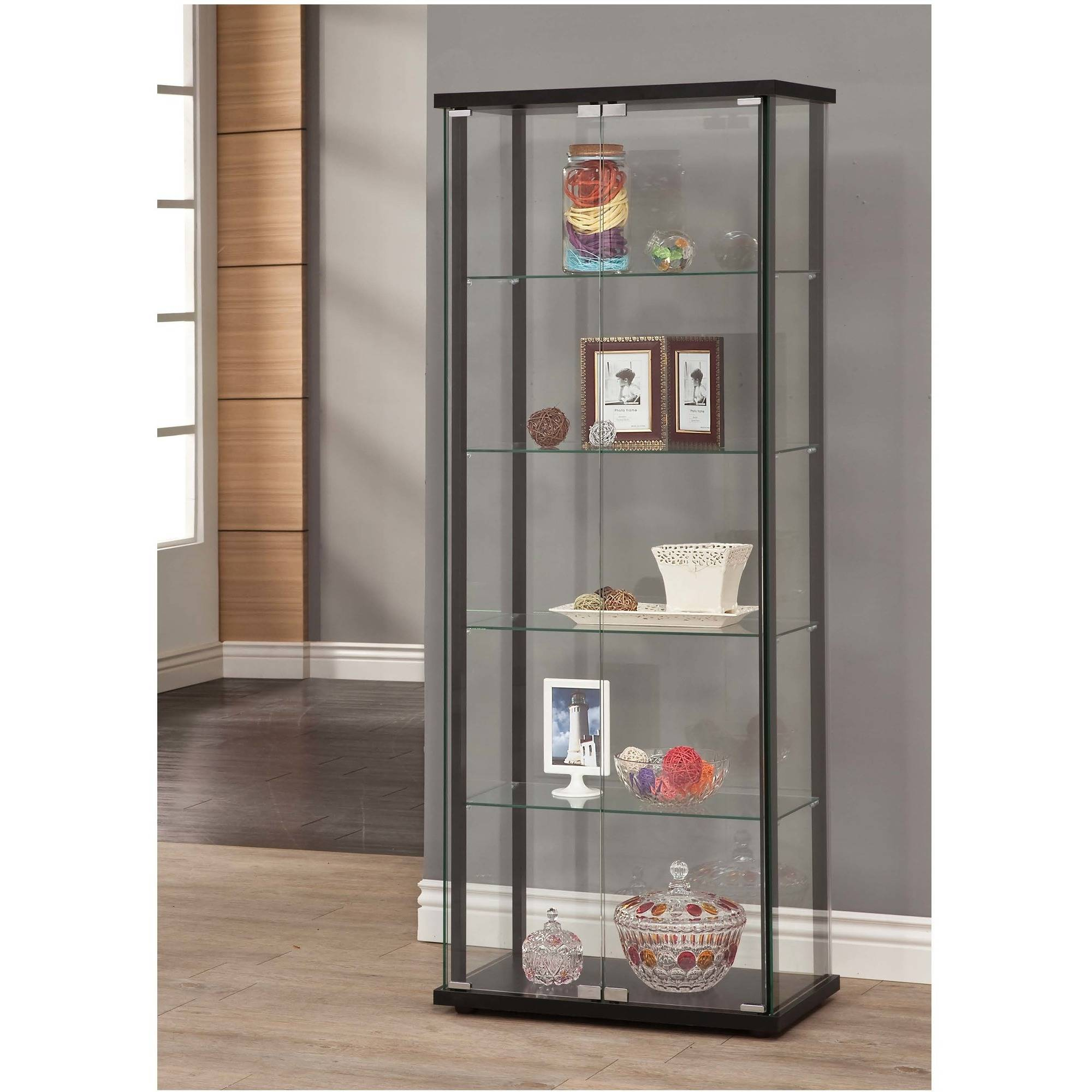 living room glass shelves wood chair cabinet storage furniture corner kitchen home display click thumbnail to enlarge simple black frame tempered
