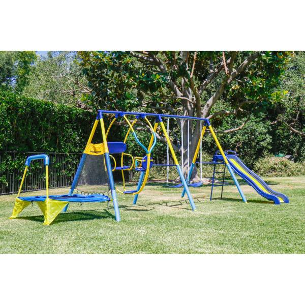 Kids Playground Set Outdoor Swing Slide Withtrampoline Backyard Playset Fun 748377142373