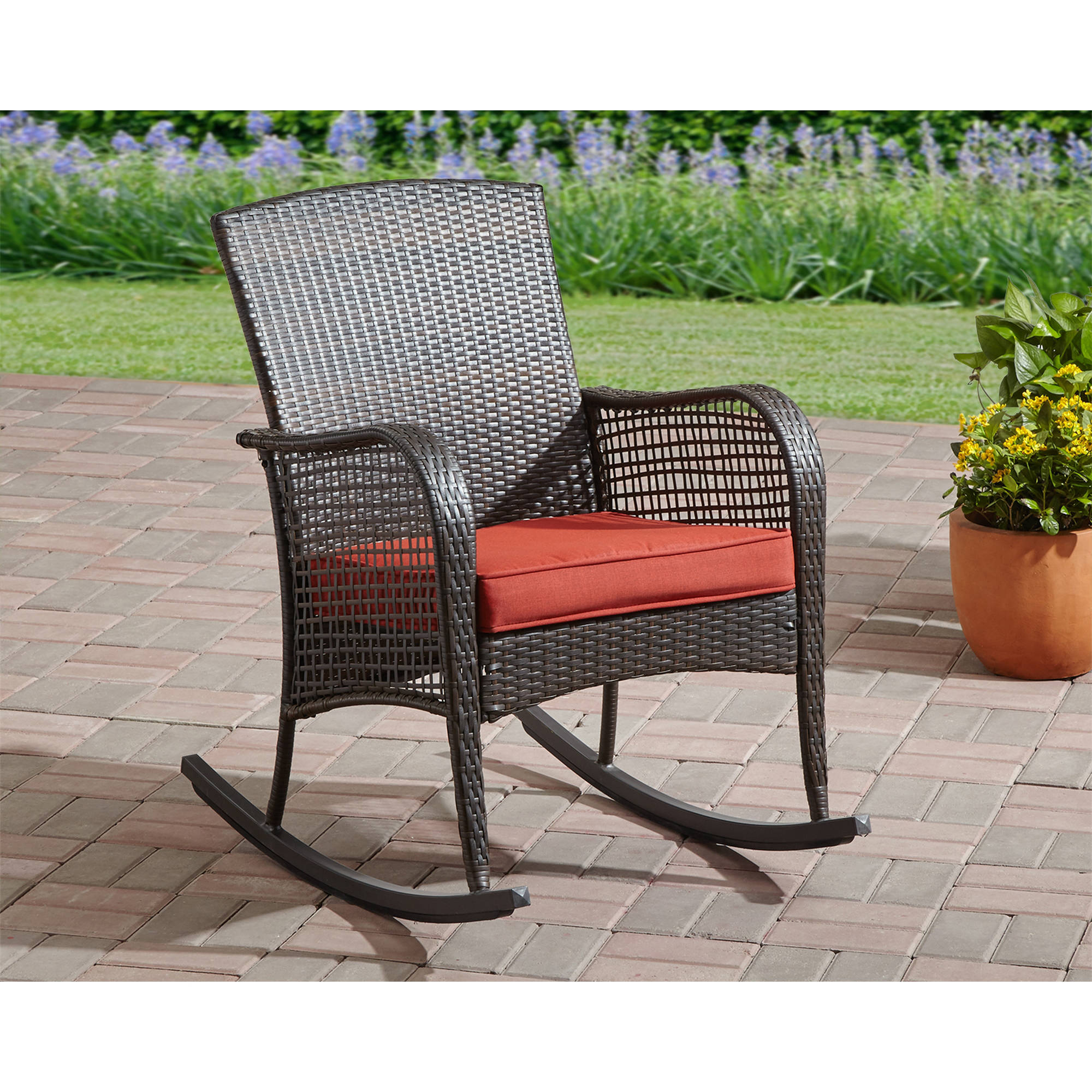 Black Wicker Rocking Chairs Details About Rocking Chair Cushion Seat Wicker Steel Frame Outdoor Patio Deck Porch Furniture