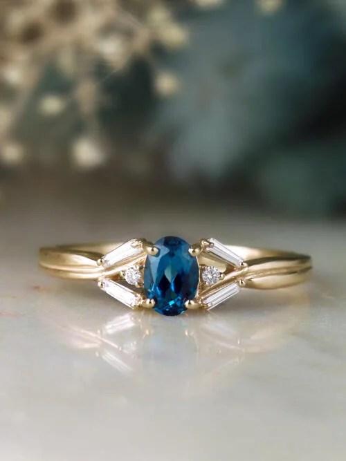 Fine Jewelry London Blue Topaz And Baguette Diamond