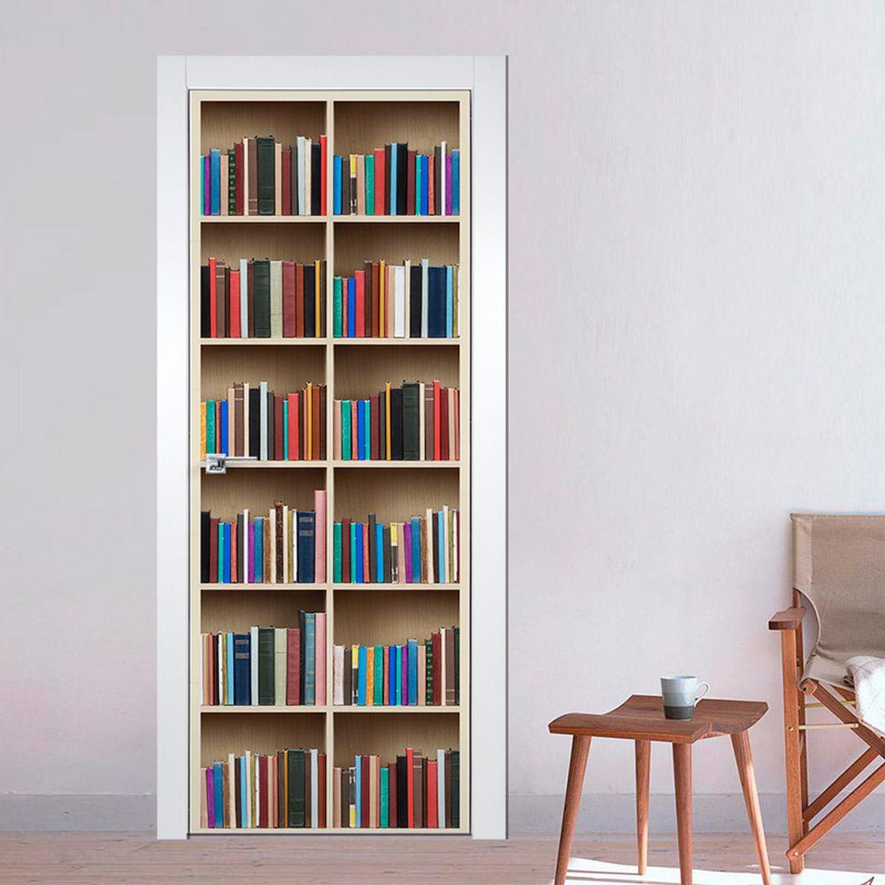 Adesivo Porta Estante Livros  9002  Na Parede Decorao