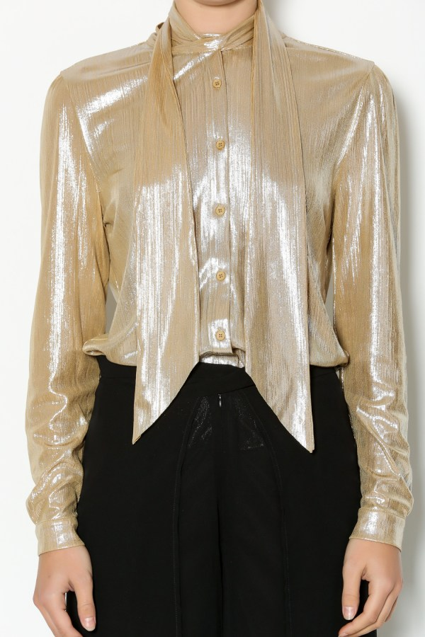 Gold Lame Blouse - Breeze Clothing