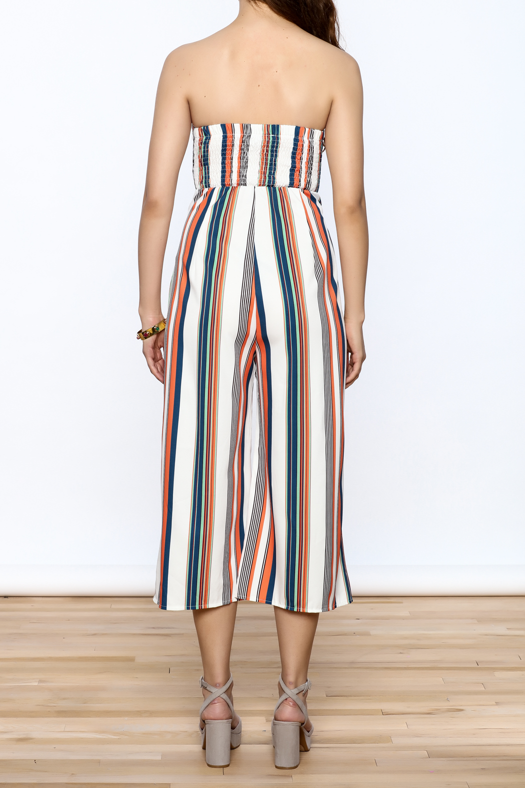 L'atiste Stripe Print Strapless Jumpsuit From Florida By
