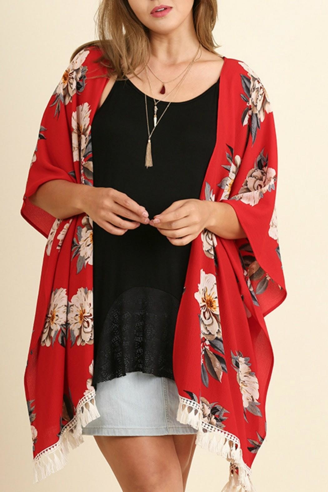 Umgee USA Red Floral Kimono from Montana by Foxwood