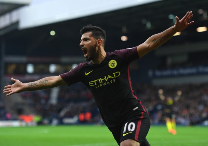 WEST BROMWICH, ENGLAND - OCTOBER 29: Sergio Aguero of Manchester City celebrates scoring the opening goal during the Premier League match between West Bromwich Albion and Manchester City at The Hawthorns on October 29, 2016 in West Bromwich, England. (Photo by Laurence Griffiths/Getty Images)
