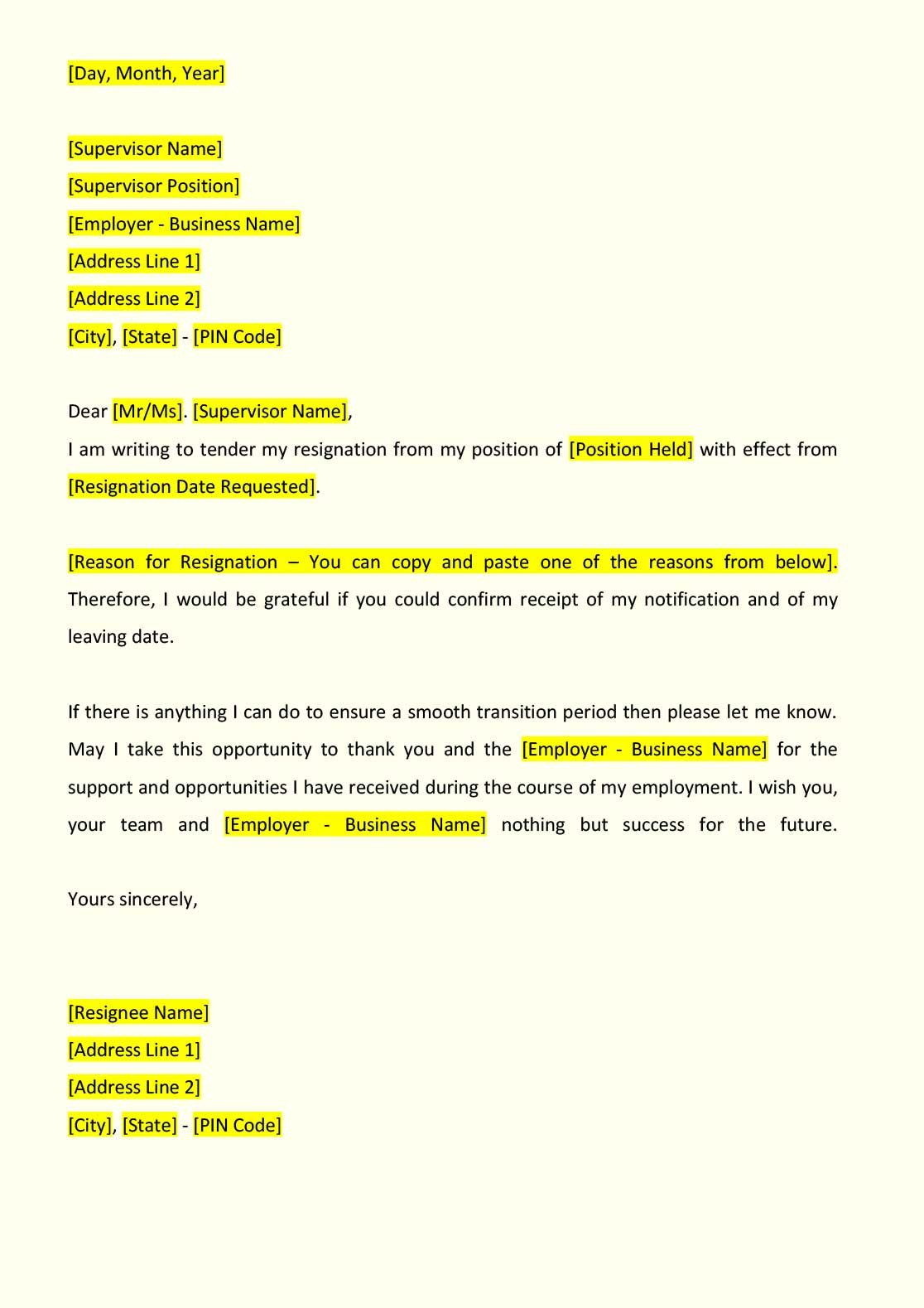 Sample Of Resignation Letter From Job Resignation Letter Format Indiafilings Document Center