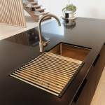 Vita Kitchen Sink Double With Overflow And Rack Brushed Brass Nz Abi Bathrooms Interiors