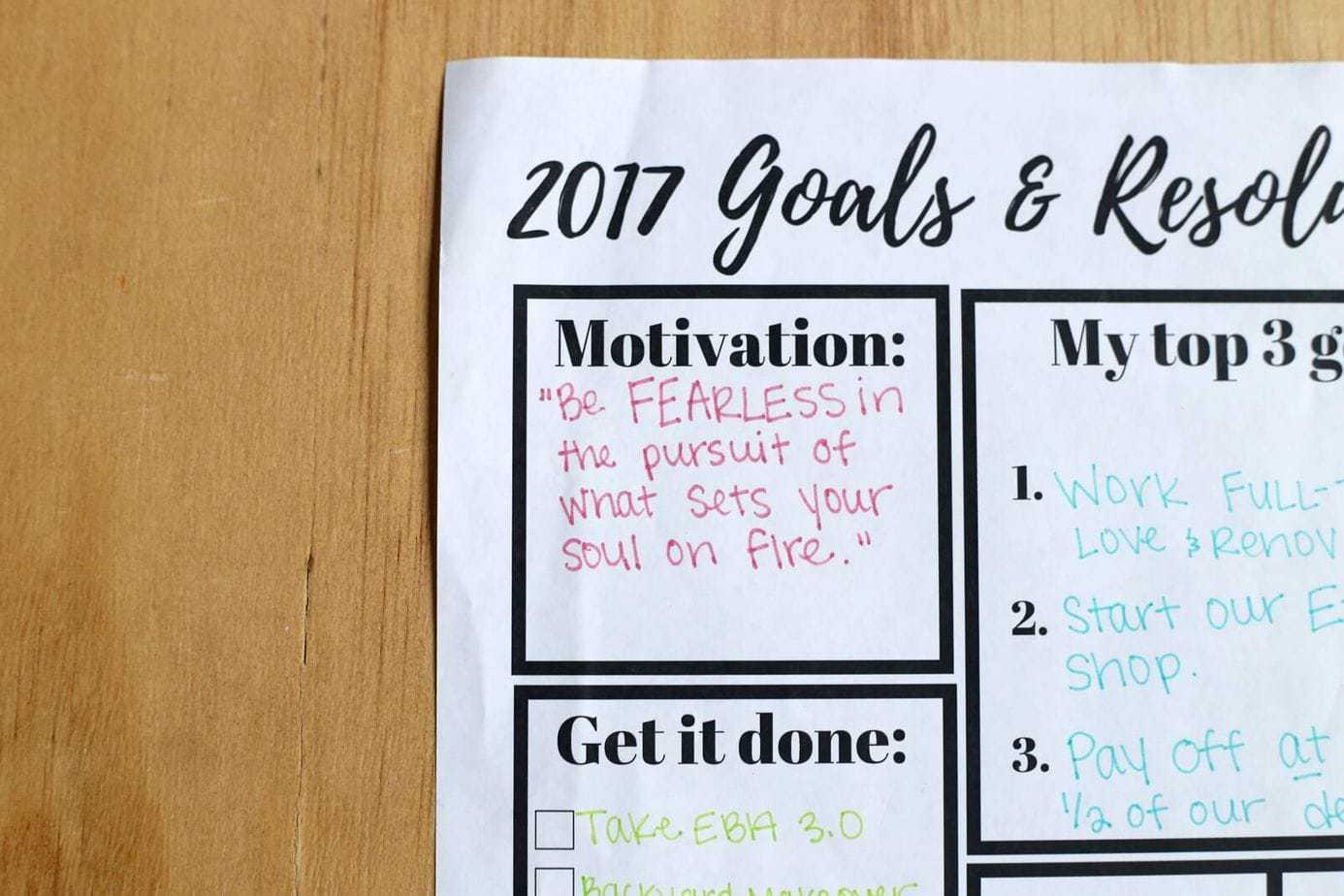 Goal Setting Printable Worksheet Love Amp Renovations