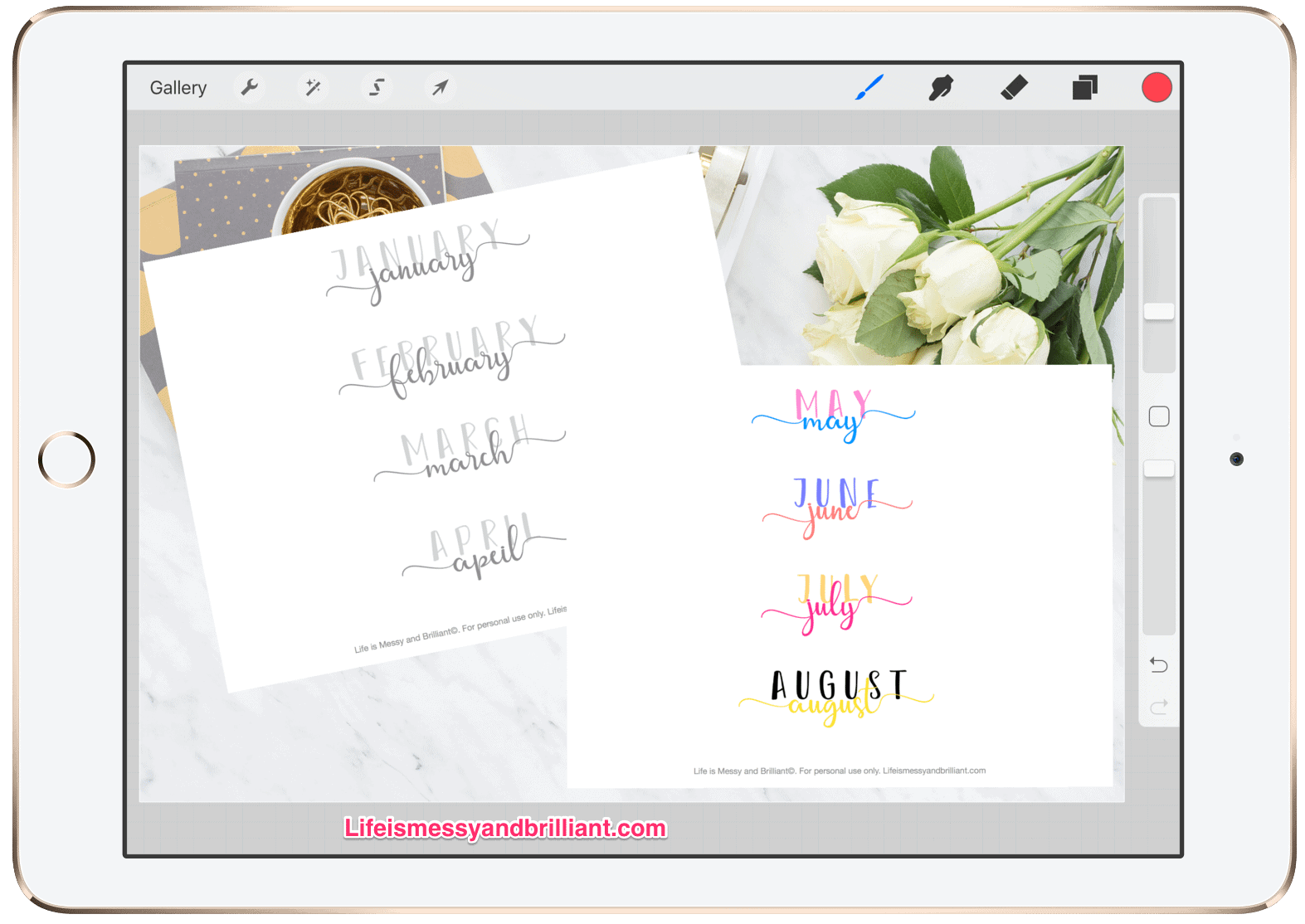 Free Names Of The Months Hand Lettering Printable