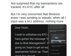 Don't Withdraw Bitcoin From Binance to Privacy Wallets, User Warns